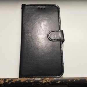 "Wallet case for iphone XR 6.1"" color black leather"